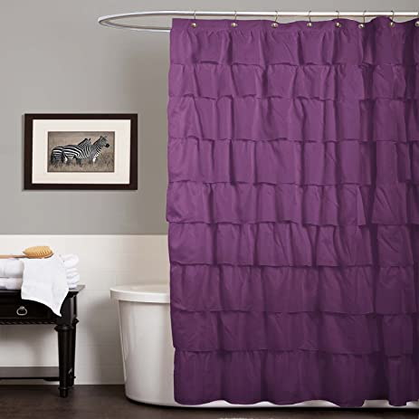 Lush Decor Ruffle Shower Curtain, 72 Inch X 72 Inch, Purple
