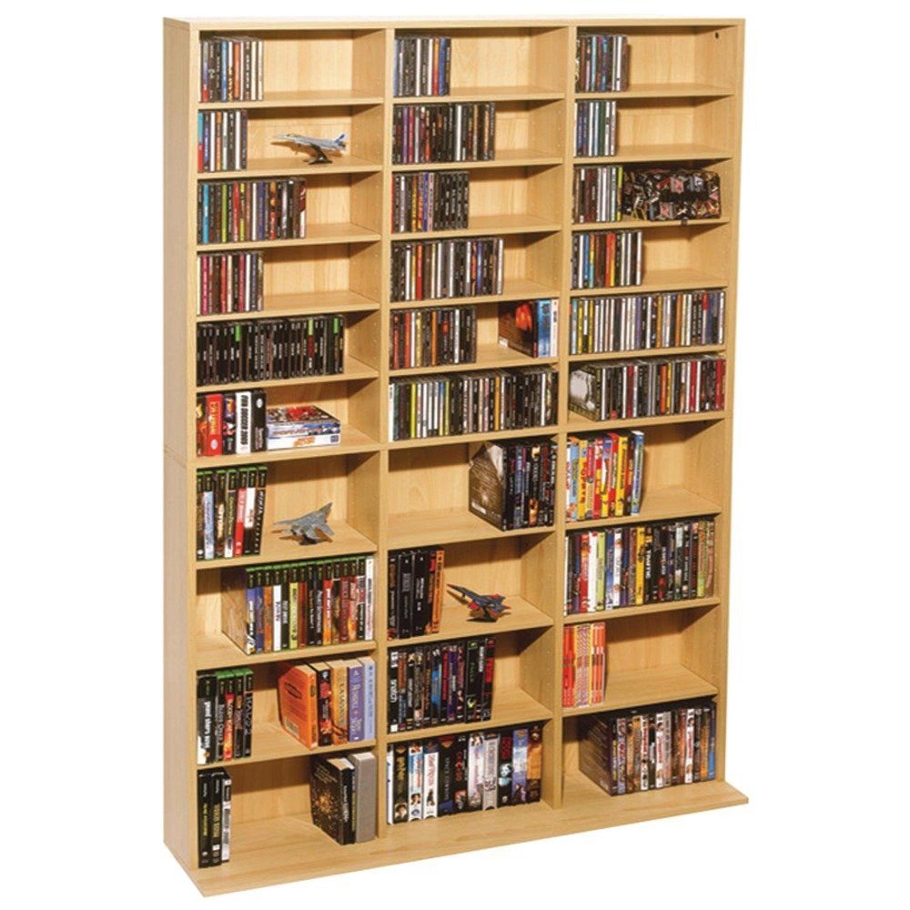 Atlantic Oskar Adjustable Media Wall-Unit - Holds 1080 CDs, 504 DVDs or 576 Blu-Rays/Games, 30 Adjustable and 6 fixed shelves PN38435715 in Maple by Atlantic