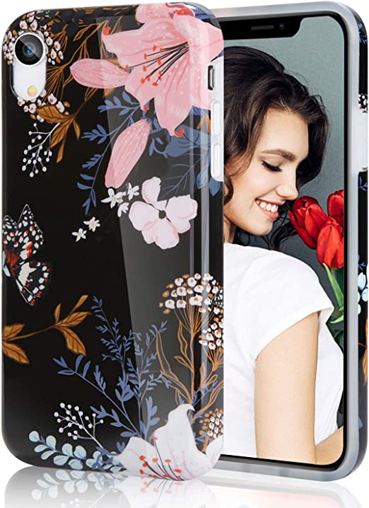 Amazon Com Case For Iphone Xr Floral Flowers Pattern Case For Girls Soft Flexible Tpu Iphone Xr Case Black Pansy