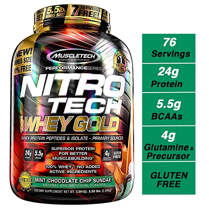 Muscletech Performance Series Nitrotech Whey Gold (Whey Protein Peptides & Isolate, 24g Protein, 5.5g BCAAs, 4g Glutamine, Gluten Free, Post-Workout) - 5.5lbs (2.49kg) (Mint Chocolate Chip Sundae) at amazon
