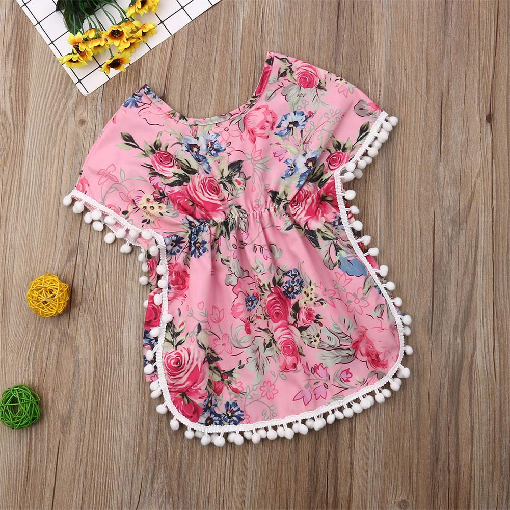 LXXIASHI Toddler Baby Girl Swim Cover-up Beach Sundress Summer Floral Print Poncho Tassel