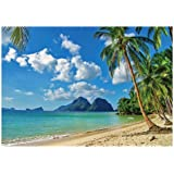 Seaside Scenery Background 15x10ft Summer Holiday Polyester Photography Backdrop Crystal Clear Sea Blue Sky Tropical Beach Coconut Palm Tree Wooden Bridge Nature Studio Photo Prop Decor Video