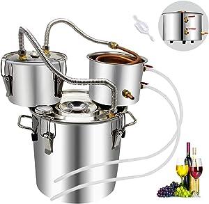 8 Gal Moonshine Still Spirits Kit 30L Water Alcohol Distiller Copper Tube Boiler Home Brewing Kit with Thumper Keg Stainless Steel 3 pots Wine Making Starter Sets