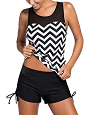 Sidefeel Black White Zigzag Print Mesh Splice 2 Pieces Tankini Swimsuit