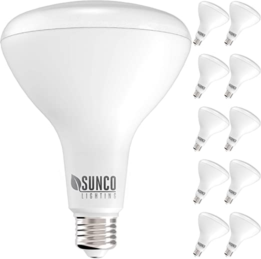 Sunco Lighting 10 Pack BR40 LED Bulb, 17W=100W, Dimmable, 2700K Soft White, 1400 LM, E26 Base, Indoor Flood Light for Cans - UL & Energy Star