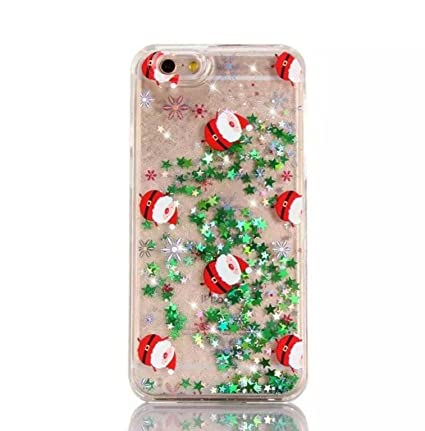 Christmas Phone Case Iphone 7.Christmas Phone Case For Iphone 7 Plus 8 Plus 5 5 Sparkly Bling Stars And Glitter Flowing Liquid Water Aqua Movable With Merry Christmas Tree Santa