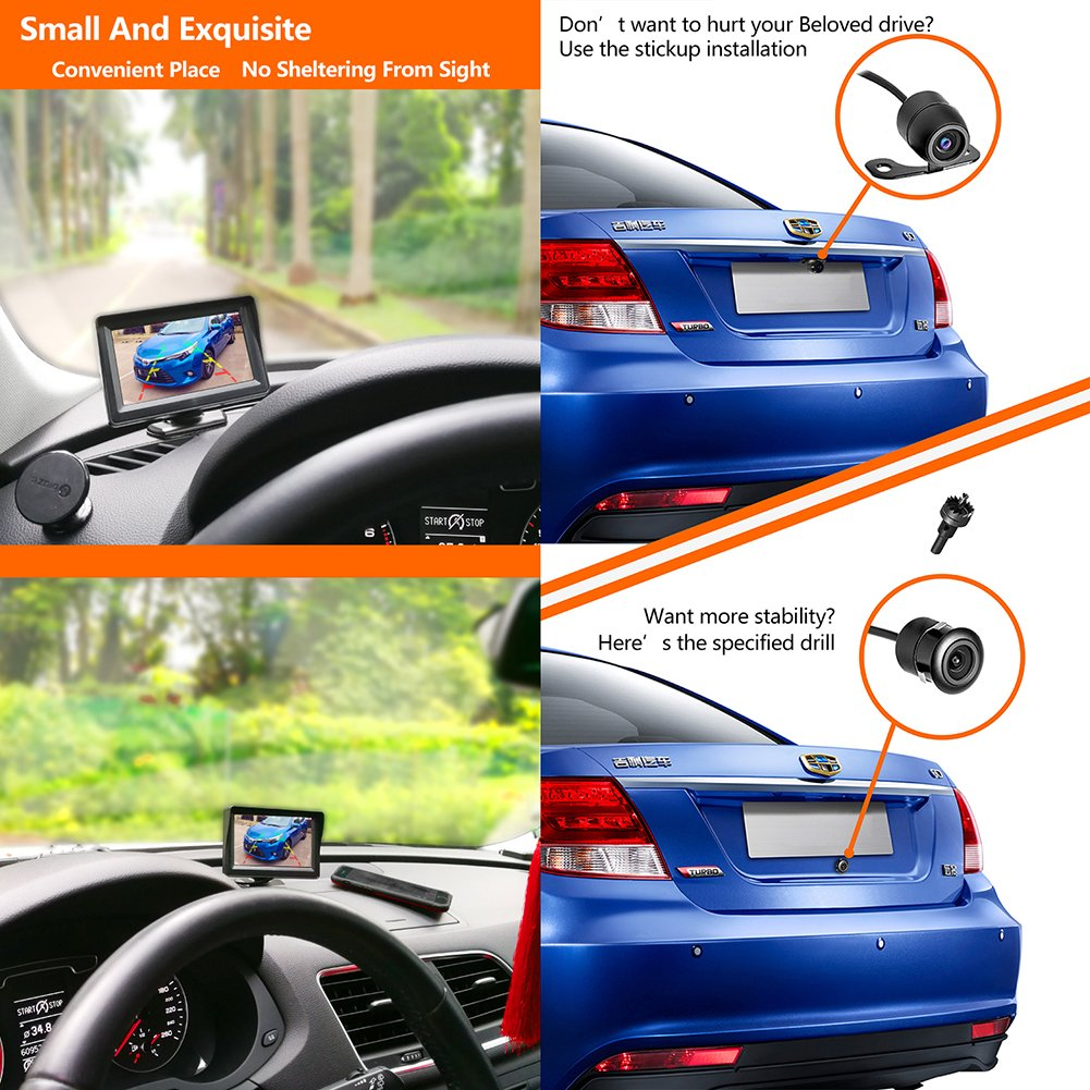 36 Month Warranty Backup Camera and Monitor Kit For Car/MPV/PICKUP/Truck/SUV,Universal Wired Waterproof Rear-view 2-installation Car Rear Backup Camera + 4.3 LCD Rear View Monitor by Midcourse (Image #4)