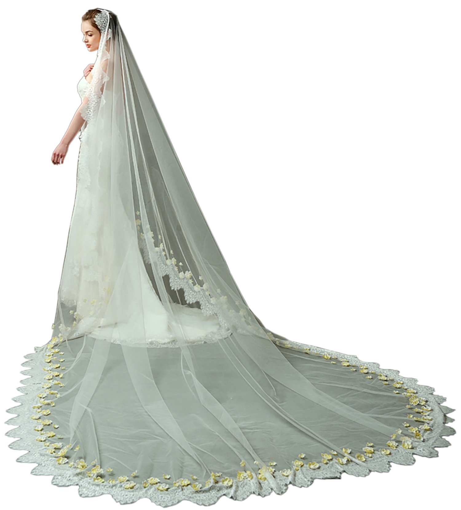 LynnBridal Romantic Royal Scalloped Lace Trim Wedding Veil with Yellow Flowers