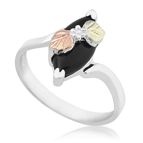 Slim-Profile Marquise Onyx Bypass Ring, Sterling Silver, 12k Green and Rose Gold Black Hills Gold Motif