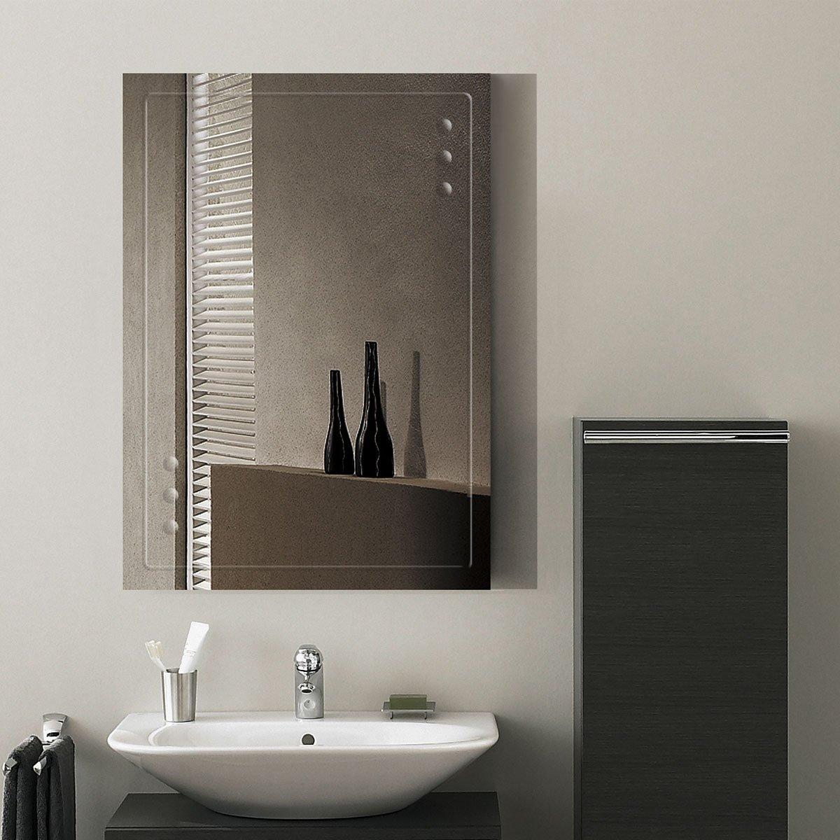 DECORAPORT 28''20'' Frameless Wall-mounted Bathroom Silvered Mirror Rectangle Vertical Vanity Mirror (A-B047B)