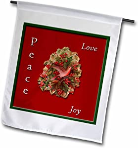 3dRose fl_169906_1 Love, Peace, Joy Holly and Christmas Cactus with a Dove Garden Flag, 12 by 18-Inch