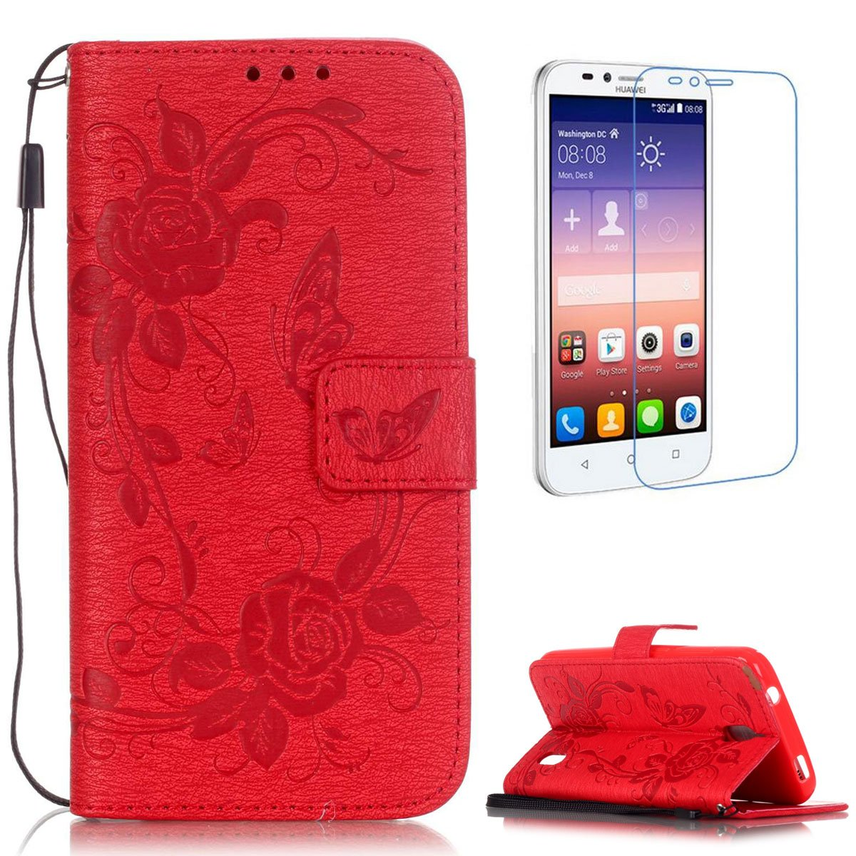 CaseHome Compatible For Huawei Y625 Wallet Funda,Carcasa PU Leather Cuero Cierre Magnético Billetera con Tapa Libro Tarjetas para Estilo del Libro ...