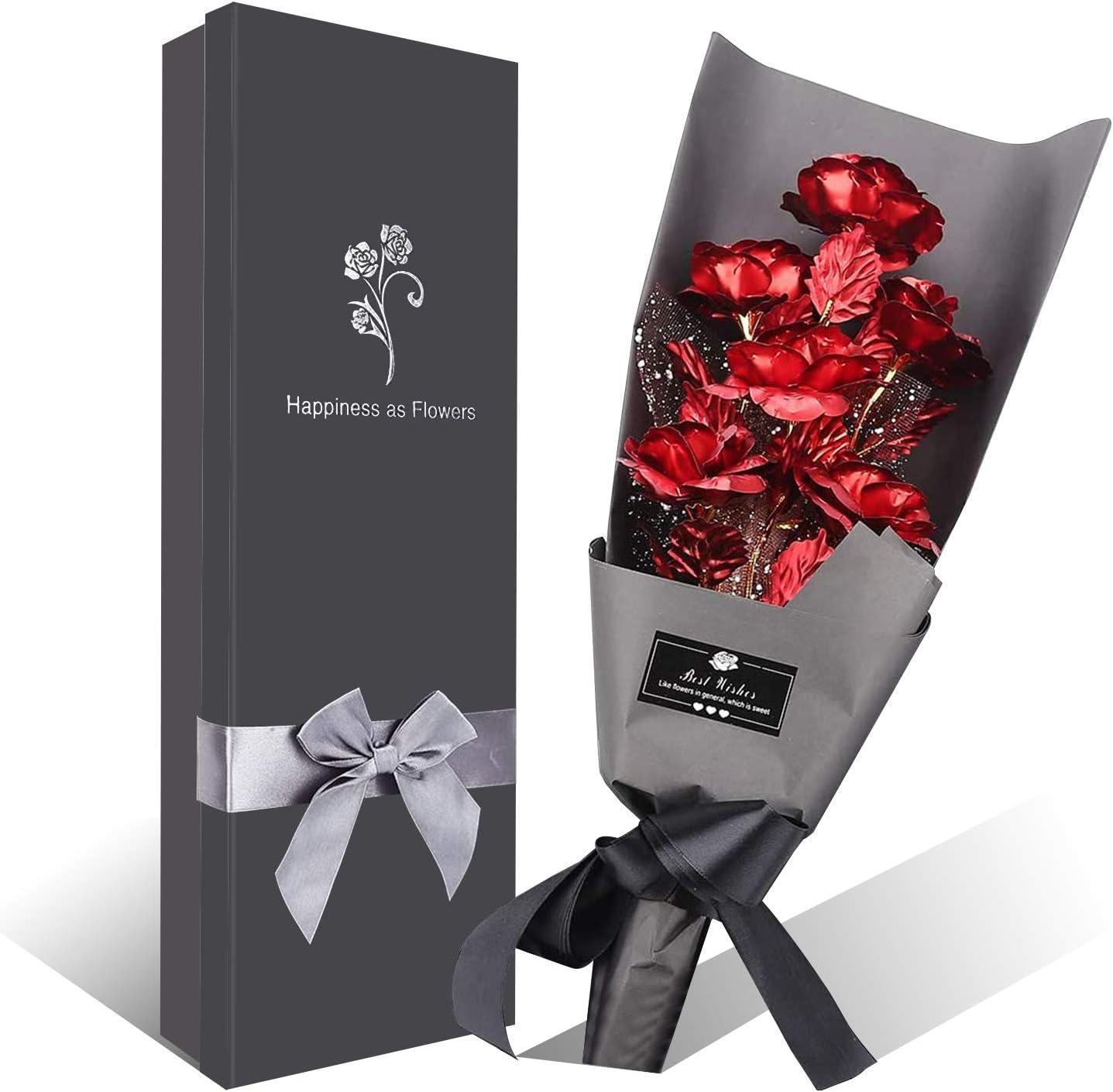 Ramo Flores Rosa Chapada en Oro, 6 Piezas Ramo Rosa Artificiales de Papel Oro con Caja de Regalo, Regalo Ideal para el día de San Valentín, día de la Madre, Aniversario, cumpleaños, Navidad (Rojo)