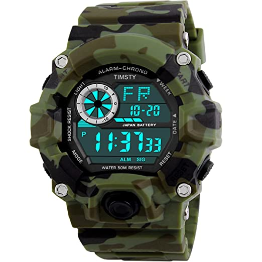 timsty digital sports boys watch waterproof military camouflage great christmas gift for boys teens