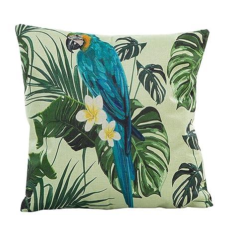 Funda de Almohada, ❤️ Manadlian ❤️ Cojín Tropical Verde Hojas de Planta Manta Funda de Almohada para sofá Coche decoración para el hogar (D)