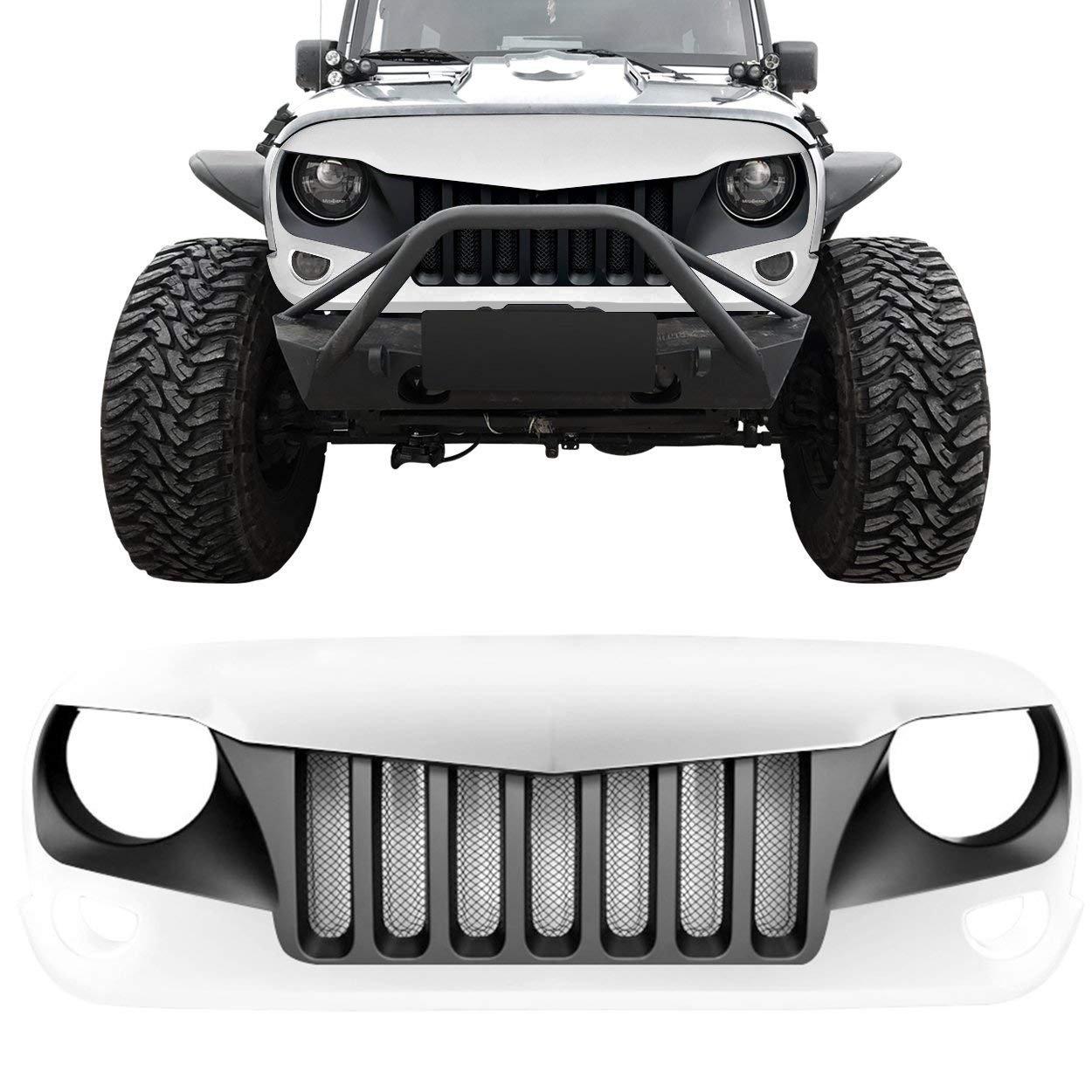 IPARTS Front Grille for Jeep Wrangler 2007-2017 Rubicon Sahara Sport JK JKU (Black white)