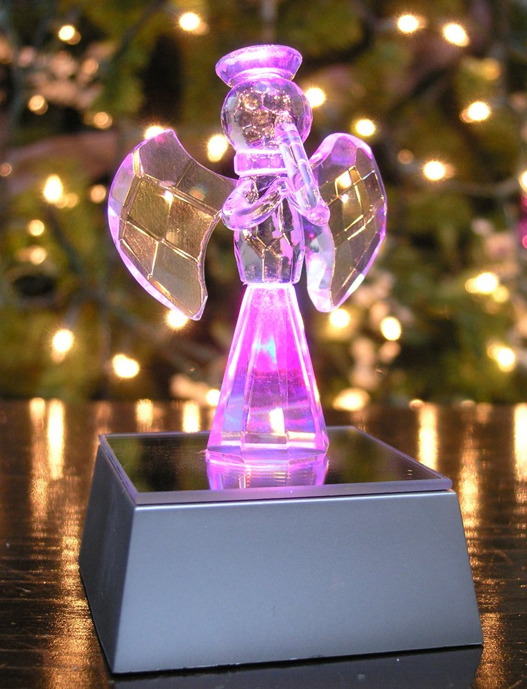 Banberry Designs Crystal Angel Playing a Musical Flute Figurine LED Color Changing Silver Base