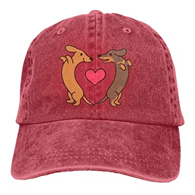 Classic Polo Style Baseball Cap Cartoon Dachshunds In Love Cowboy ...