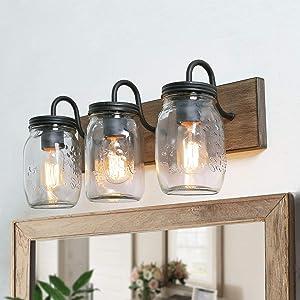"LNC Bathroom Vanity Light Fixtures, Farmhouse Mason Jar Lights with Faux Wood Finish, L18""x H8""x W9.5"""