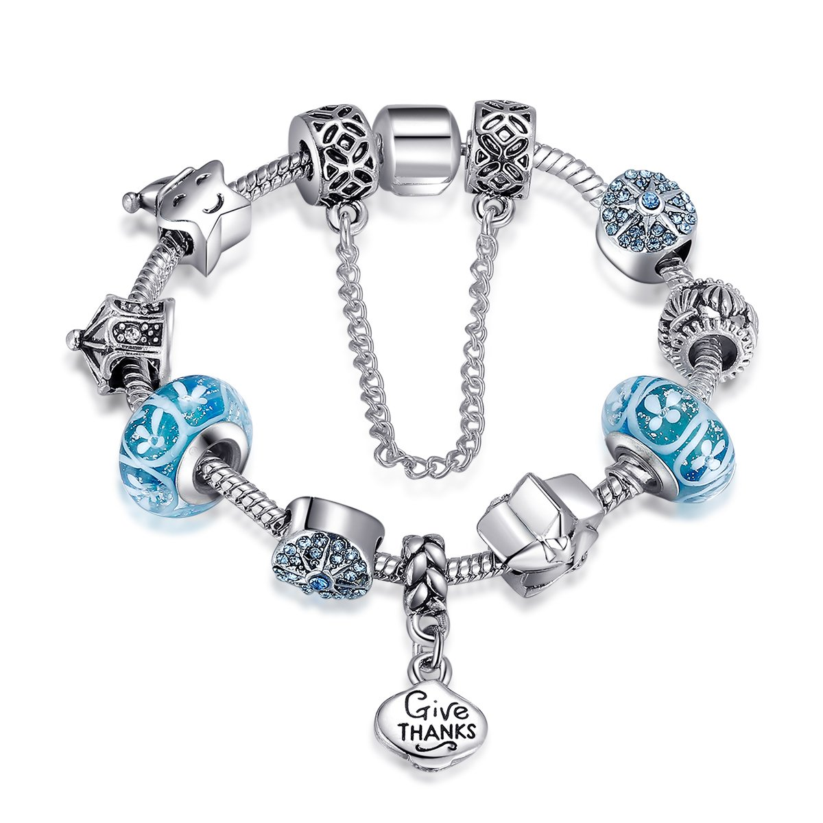 Presentski Silver Plated Give Thanks Blue Charm Bracelet, DIY Gift for Teen Girls and Women (7.1in and 7.9in)