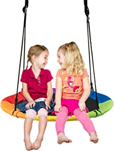Boxgear Flying Saucer Tree Swing – Large 40 Inches Nest Swing – Strong Swing Frame – Adjustable Height – Comfortable and Durable Outdoor Swing – Easy to Assemble – for Children and Adults