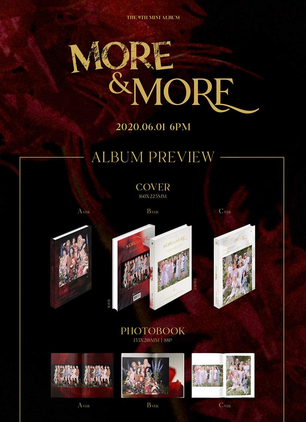 JYP Twice A+B+C ver. Set 9th Mini Album Album+Pre-Order Benefit+Folded Poster+Extra Photocards Set More /& More