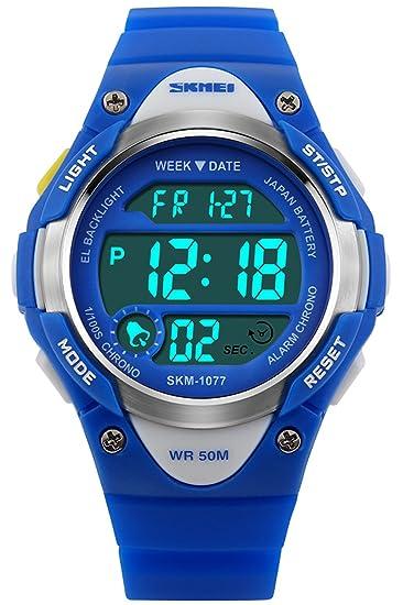 Niño Niñas Relojes Digitales Deportivo 5ATM Impermeable Azul Rosado Negro