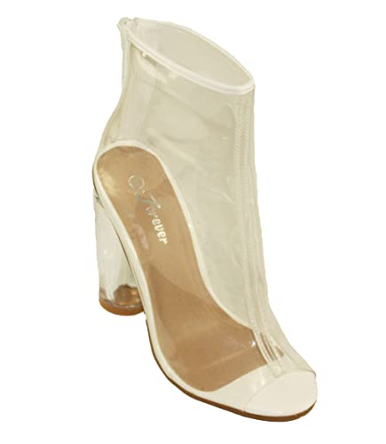 74b96d775e0 Forever Women s Clear-24 Peep-Toe Ankle High Transparent High Heels (6