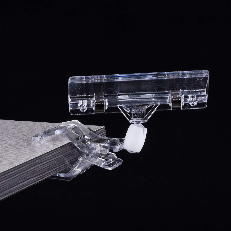 25 Paquetes Clips Giratorios de Pl/ástico de Etiqueta Pinza de Signo de Mercanc/ías Clip de Exhibici/ón DILISENnd de Soporte Transparente