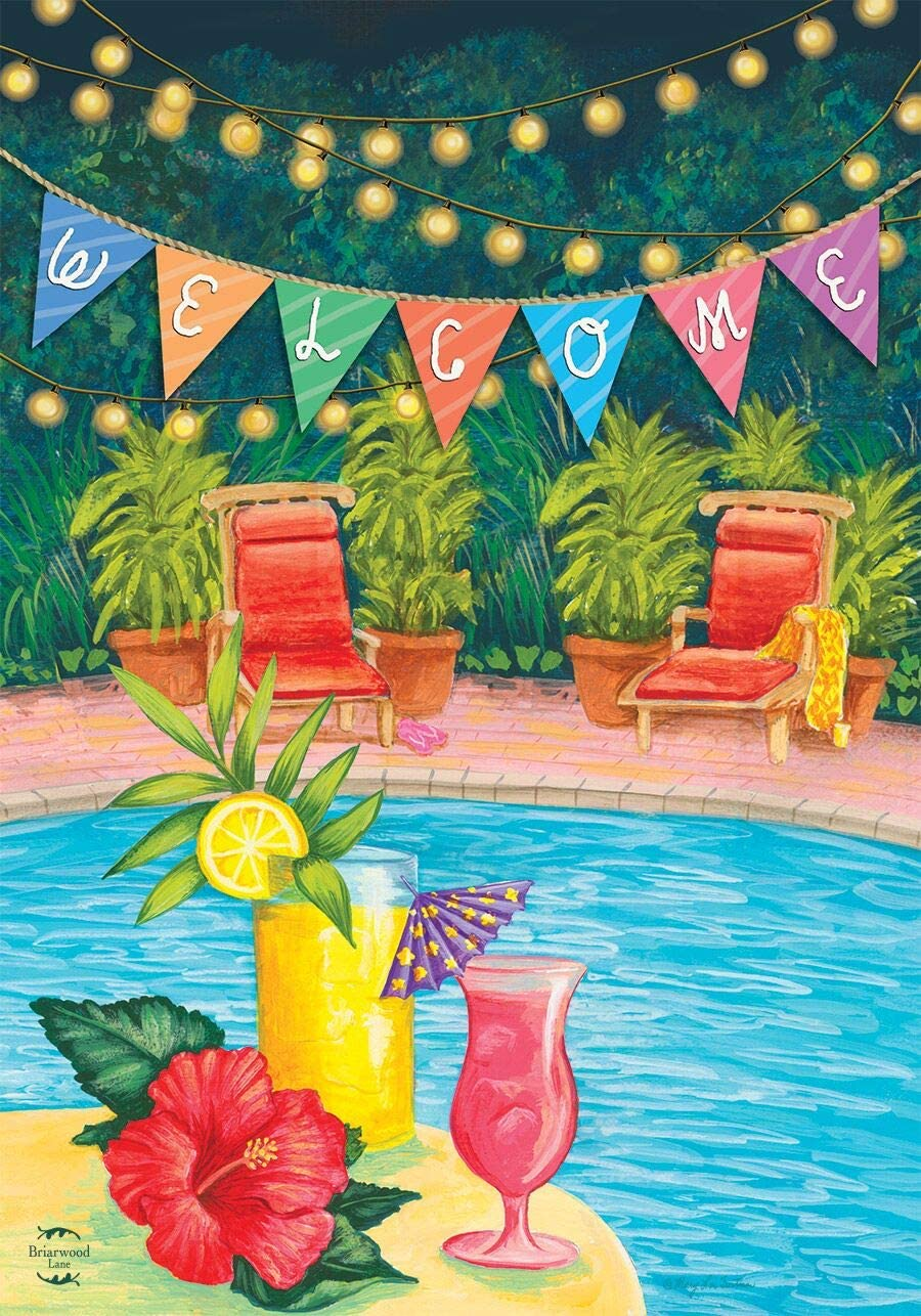 Briarwood Lane Poolside Paradise Summer Garden Flag Welcome Tropical 12.5