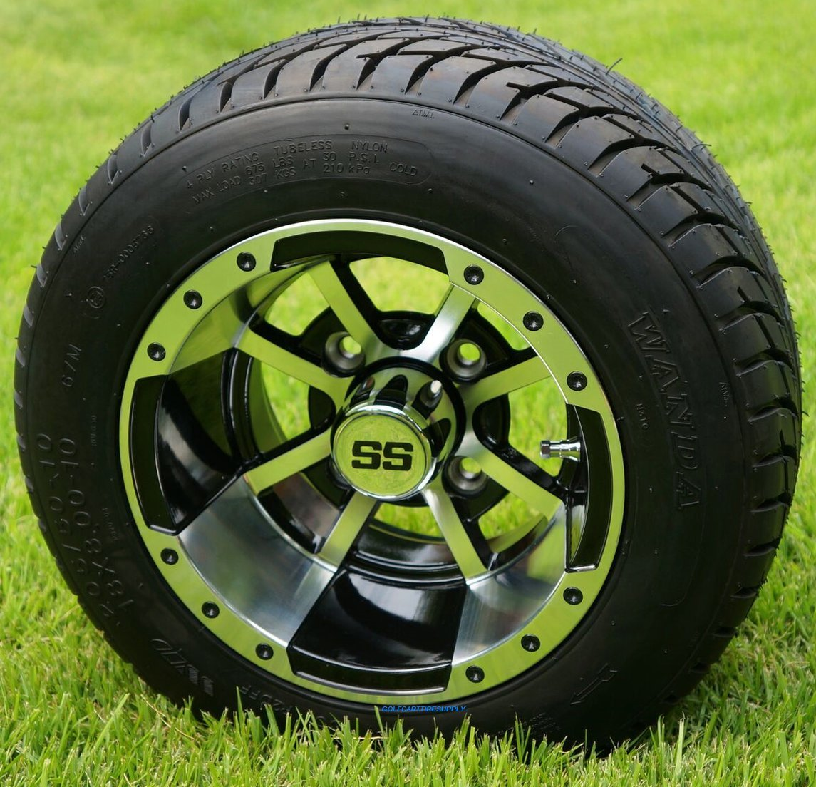 10'' STORM TROOPER Machined/Black Wheels and 205/50-10'' DOT Golf Cart Tires - Set of 4