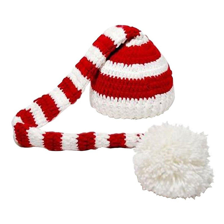 TOOGOO(R) Bonnet en tricot a queue longue Bonnet de Noel en tricot de crochet pour les bebes Chapeau - blanc et rouge 064310