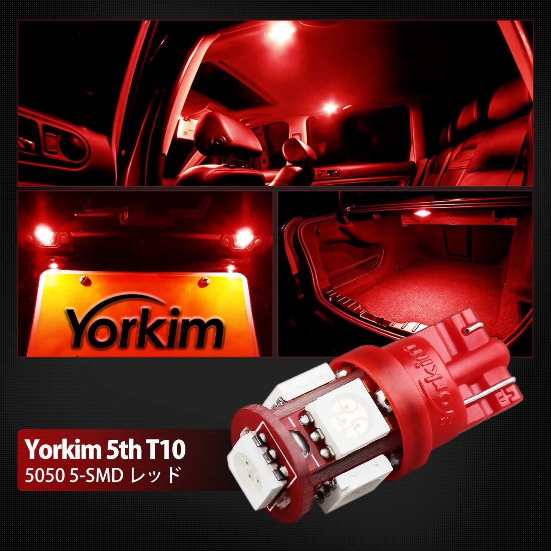 194 LED Interior Lights for Car W5W LED Bulb Yorkim 194 LED Bulbs White 6000k Super Bright Newest 5th Generation Universal Fit Pack of 10 2825 LED Bulb White T10 LED Bulbs 168 LED Bulb White T10