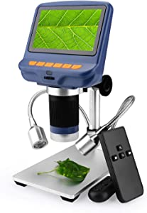 Amoper 4.3 inch Digital USB Microscope 220X Magnification with Remove Control & 2 Fill Light,1080P LCD Screen Camera Video Recorder for Electronics Repair Circuit Board Soldering Coin