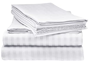 Bella kline Bedding 1800 Series 4 pc Bed Sheet Set with Pillowcases Hypoallergenic, 1 Soft Silky Luxurious Feel, Fitted and Flat Sheets Lifetime - Queen Size, White