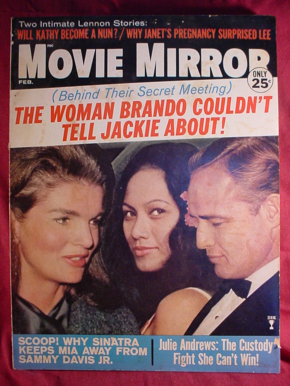 Movie Mirror Magazine Feb 67 - Brando Jackie Kennedy Cover - Frank