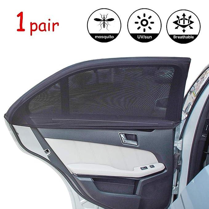 AutoRocking 1 Pair Car Side Window Sunscreen Visor Nylon Mesh Sun Shade Anti-Glare Curtain Window Openable Universal for Most Vehicle
