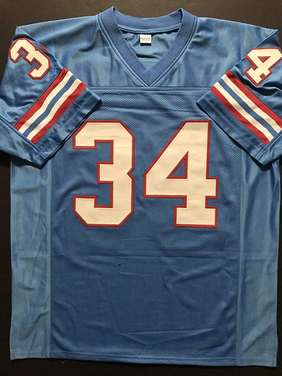 Autographed  Signed Earl Campbell Houston Blue Football Jersey JSA ... b5c49aa96