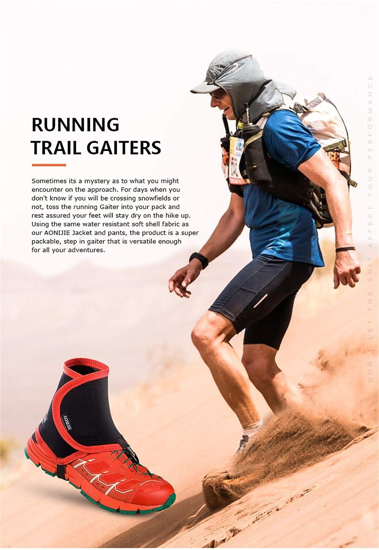 AONIJIE Hombres Mujeres Impermeable Durable Polainas Trail Running para Pierna Camping Monta/ña Senderismo