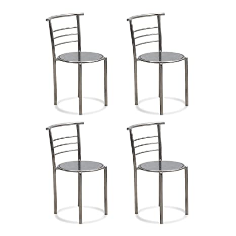 DZYN Furnitures Stainless Steel Fabsy Interiors Lavado Fix Chair (Natural,Standard) - Pack of 4 Pieces