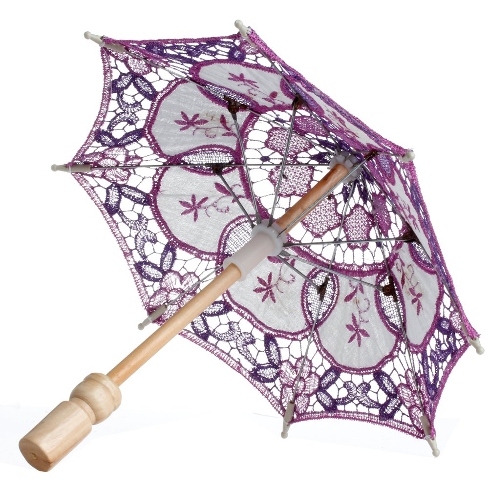 MEXUD Lace Embroidered Parasol Umbrella For Bridal Wedding Party Decoration Blue
