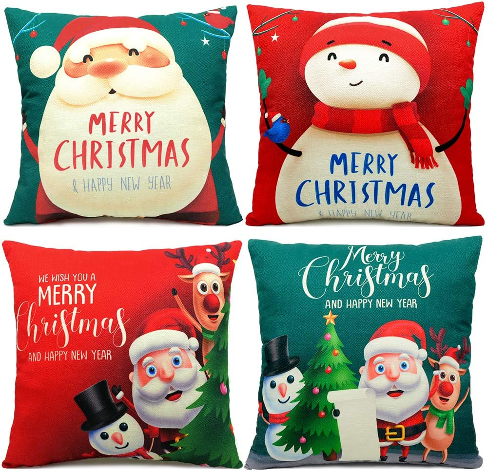 LUDILO Christmas Pillow Covers 18x18 Set of 4 Christmas Decorations Indoor Linen Pillow Cases Christmas Throw Pillow Covers Santa Claus Snowman Cushion Covers for Xmas Home Décor