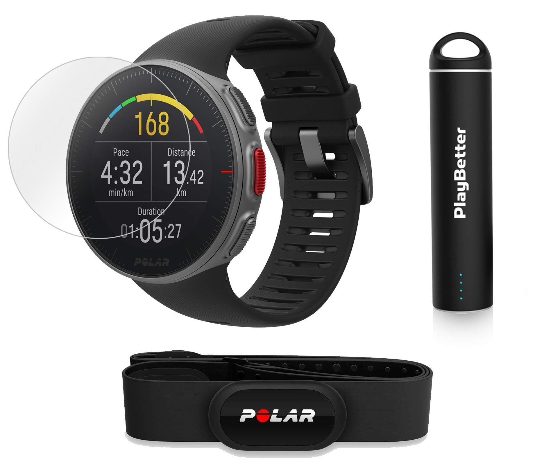 PlayBetter Polar Vantage V Pro (Black with H10 Heart Rate Sensor) Power Bundle Portable Charger & Screen Protectors | Multisport Watch | GPS & Barometer