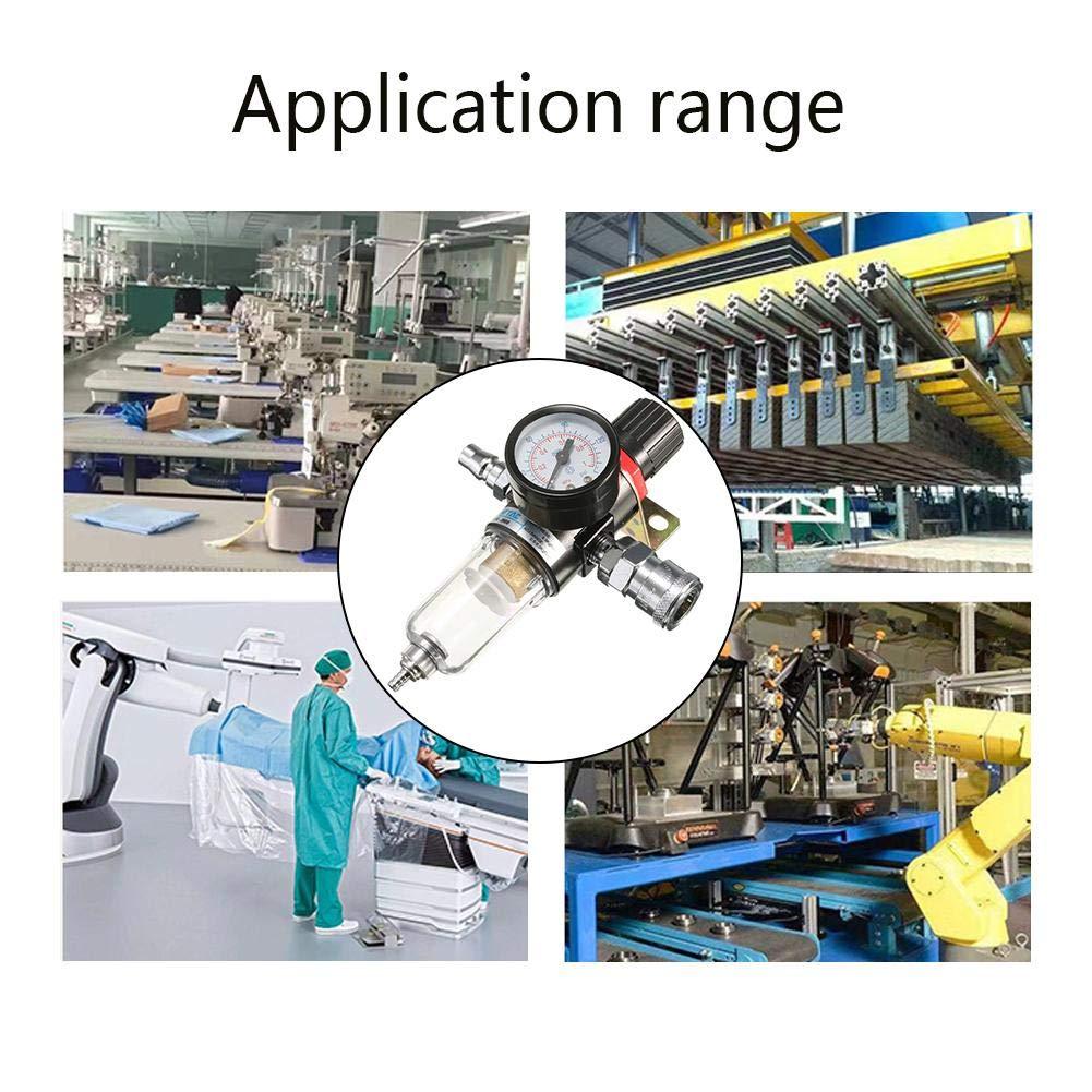 Hete-supply Filtre de compresseur dair avec jauge de r/égulateur 1//4 Pouce S/éparateur deau Outils de pi/égeage Kit S/éparateur dhuile Graisseur R/égulateur