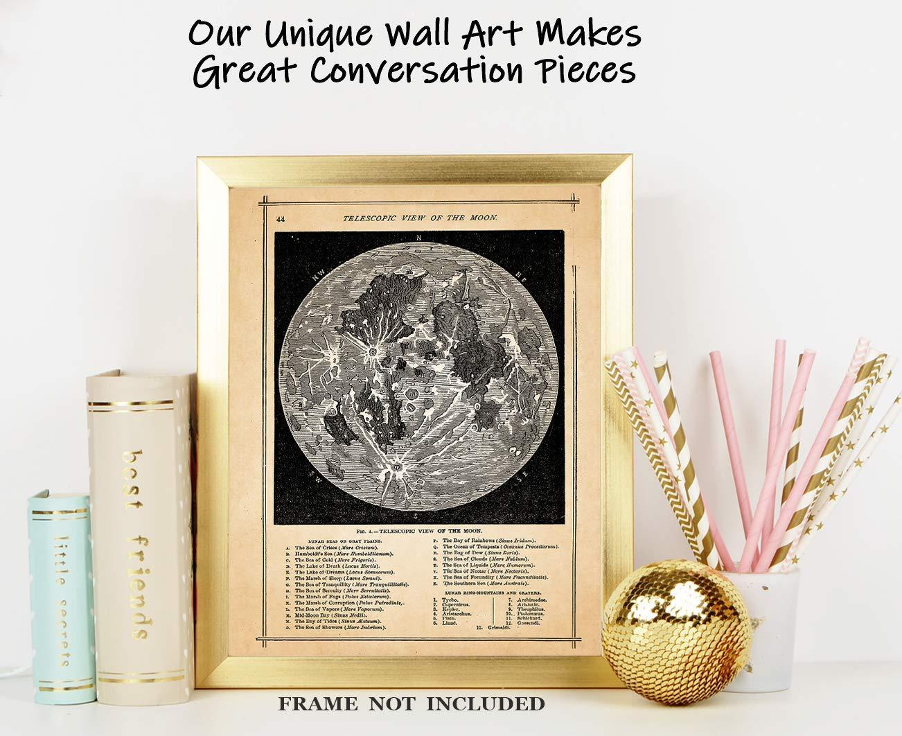 Vintage Full Moon Map Wall Art Print - (24x24) Photo Unframed Make Great  Room Wall Decor Gift Idea Under $24
