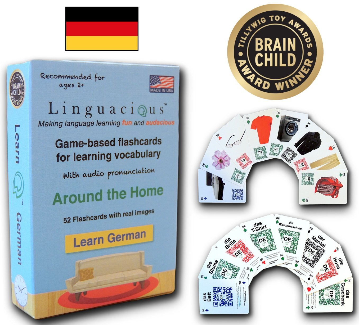 Linguacious Award-Winning Around The Home German Flashcard Game - The ONLY One with Audio!