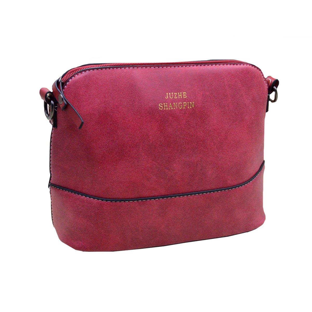 Felice Womens Small Satchel Handbag Purse Nubuck Suede Shoulder Bag with Zip-Top (red)