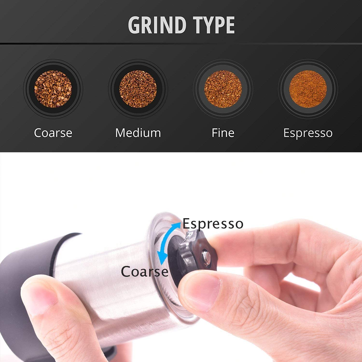 Coffee Grinder Manual Personal Coffee Mill Precision Grinding Conical Burr Mill Handheld Mini Grinder Hand Coffee Grinder Stainless Steel for French Press Travel K Cup CCF