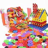 Ruiting Creative Kids Flakes 100 pièce emboîtement en Plastique Disque Ensemble pour l'amusement créatif bâtiment éducatif STEM Jouet de Construction pour Les garçons et Les Filles