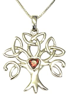 Amore Bracciali Sterling Silver Celtic Trinity Tree of Life Birthstone Necklace - Diamond White Cubic Zirconia - April - Gift Boxed